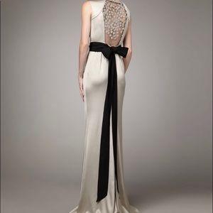 Vera Wang Lavender Metallic Bead-back Satin Gown 2